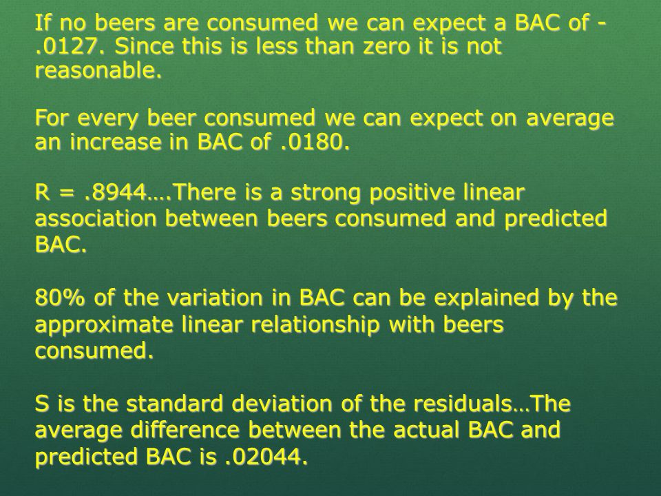 If no beers are consumed we can expect a BAC of -. 0127