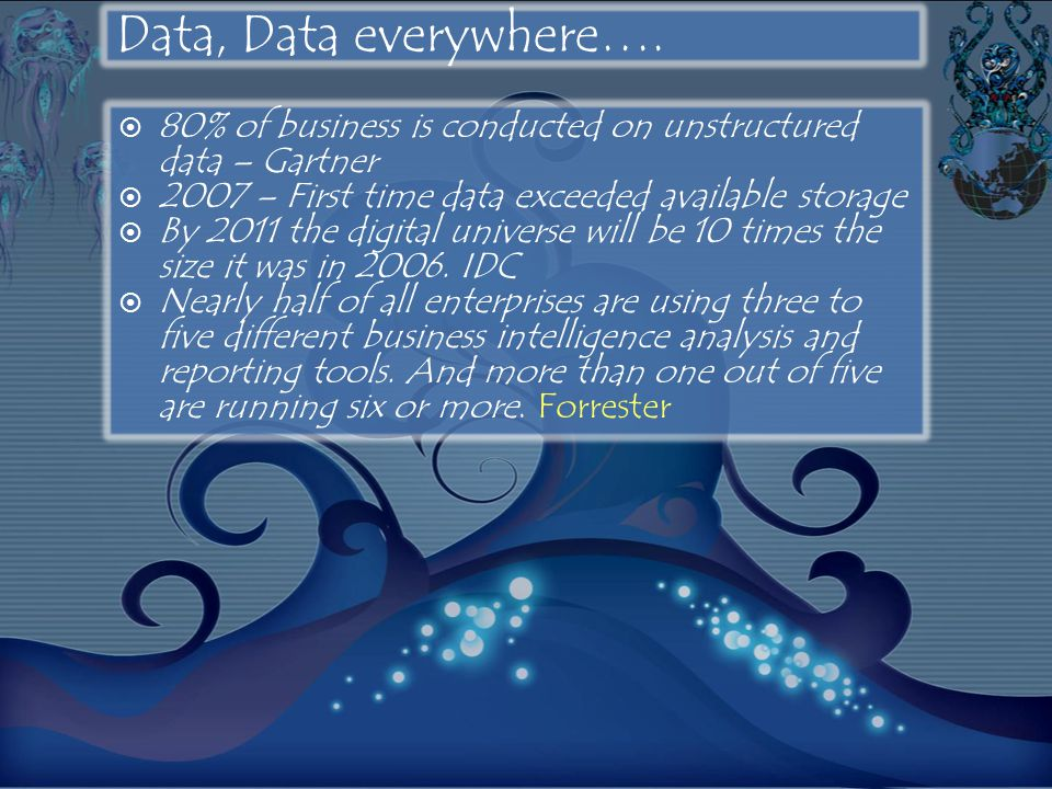 Data, Data everywhere…. 80% of business is conducted on unstructured data – Gartner. 2007 – First time data exceeded available storage.