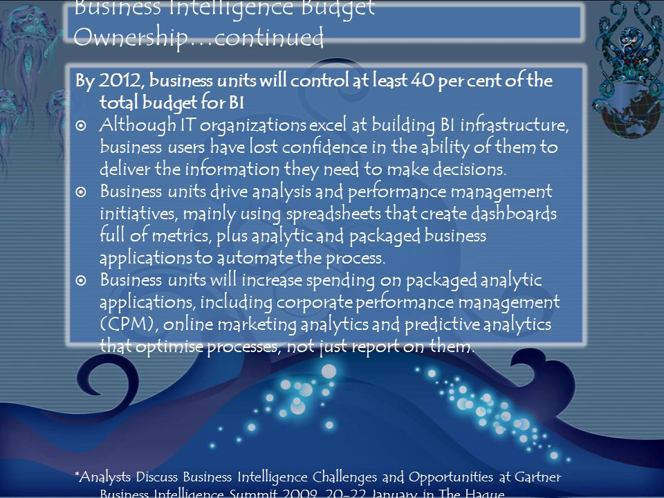 Business Intelligence Budget Ownership…continued