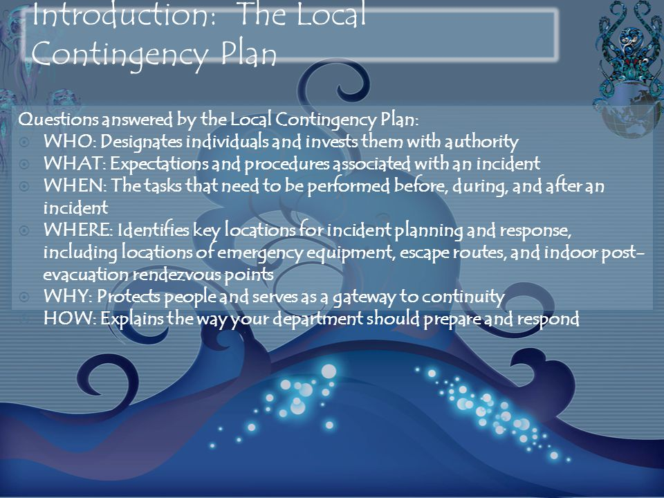 Introduction: The Local Contingency Plan