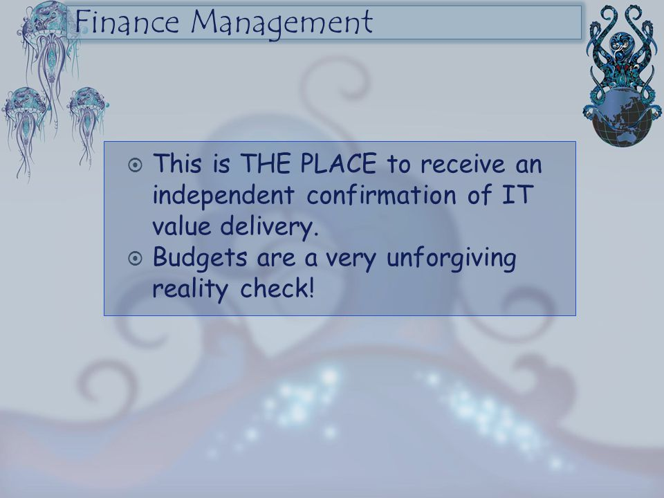 Finance Management This is THE PLACE to receive an independent confirmation of IT value delivery. Budgets are a very unforgiving reality check!