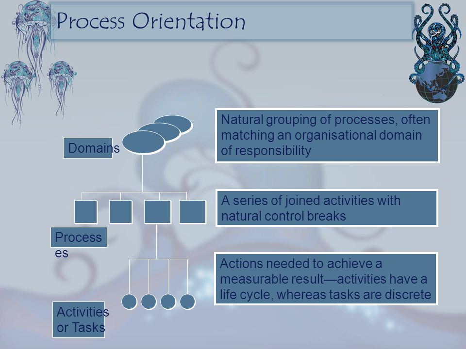 Process Orientation Domains. Natural grouping of processes, often matching an organisational domain of responsibility.