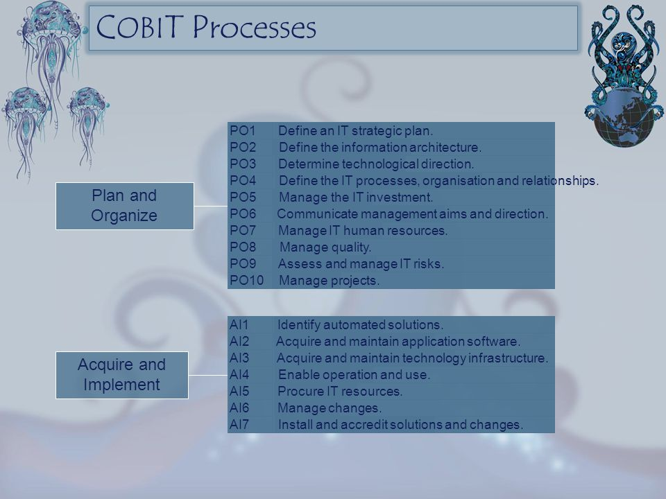 COBIT Processes Plan and Organize Acquire and Implement PO1