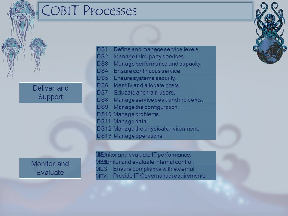 COBIT Processes Deliver and Support Monitor and Evaluate DS1
