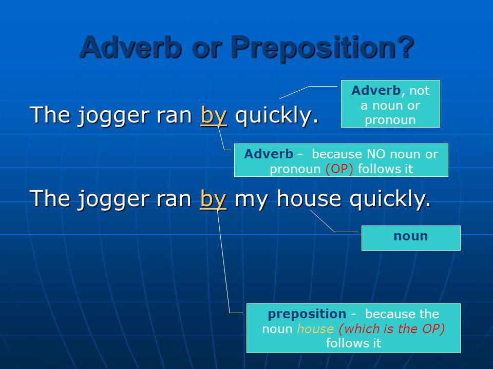 Adverb or Preposition The jogger ran by quickly.