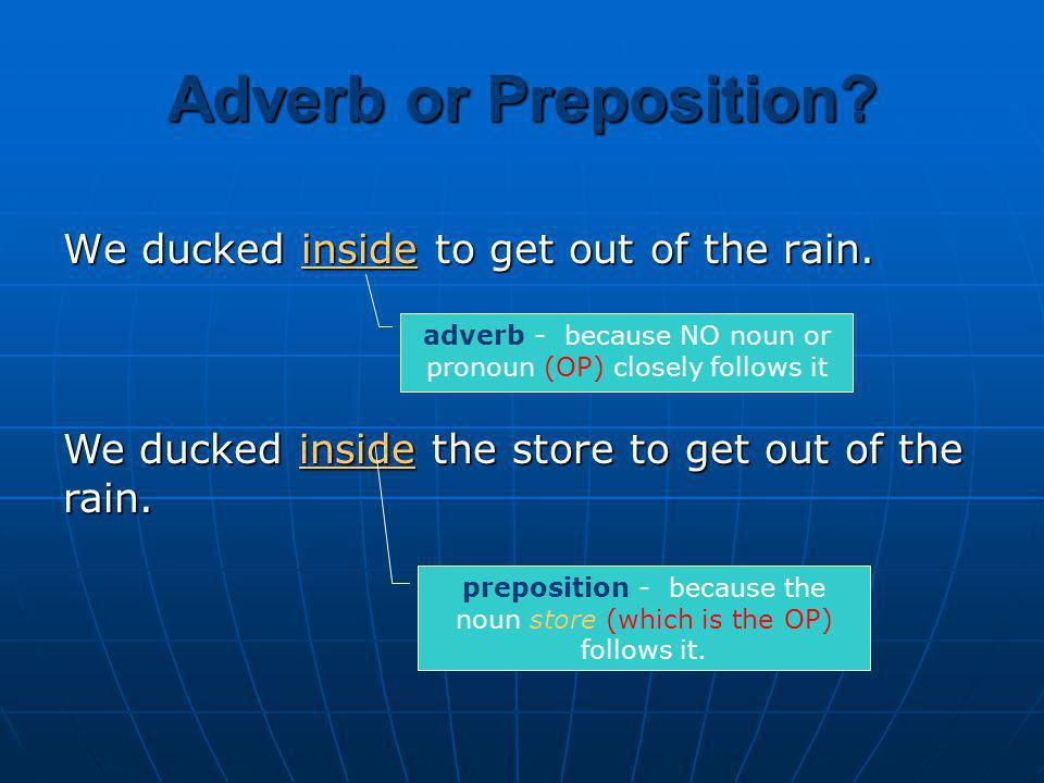 Adverb or Preposition We ducked inside to get out of the rain.