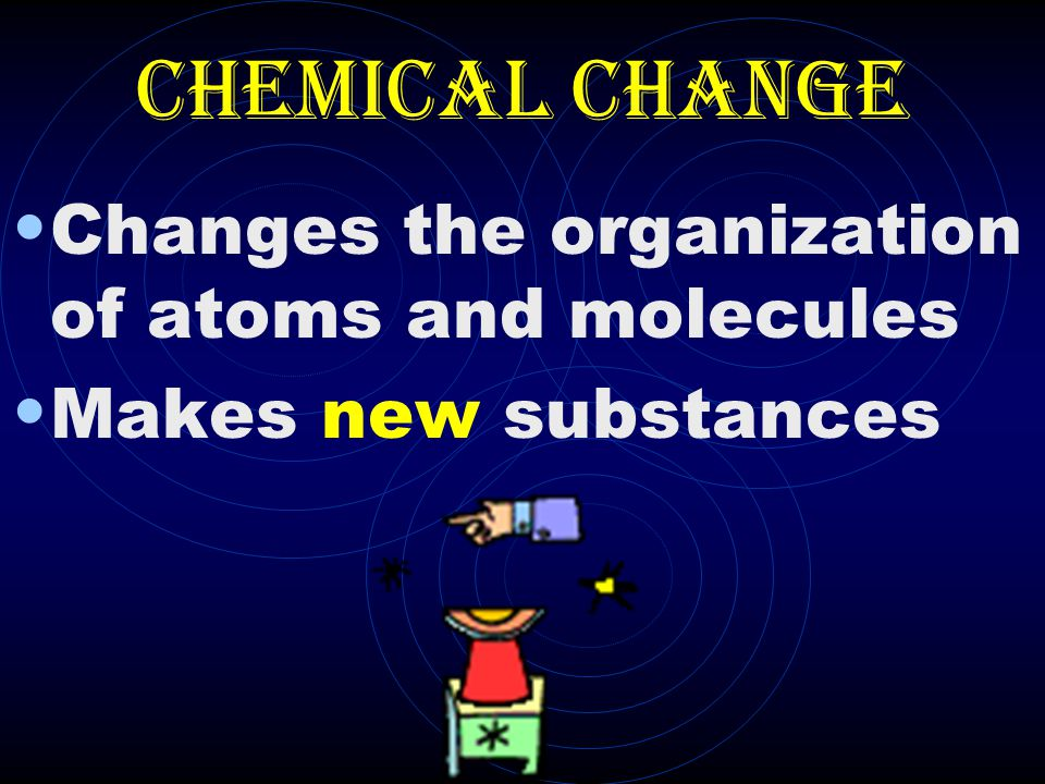 Chemical Change Changes the organization of atoms and molecules