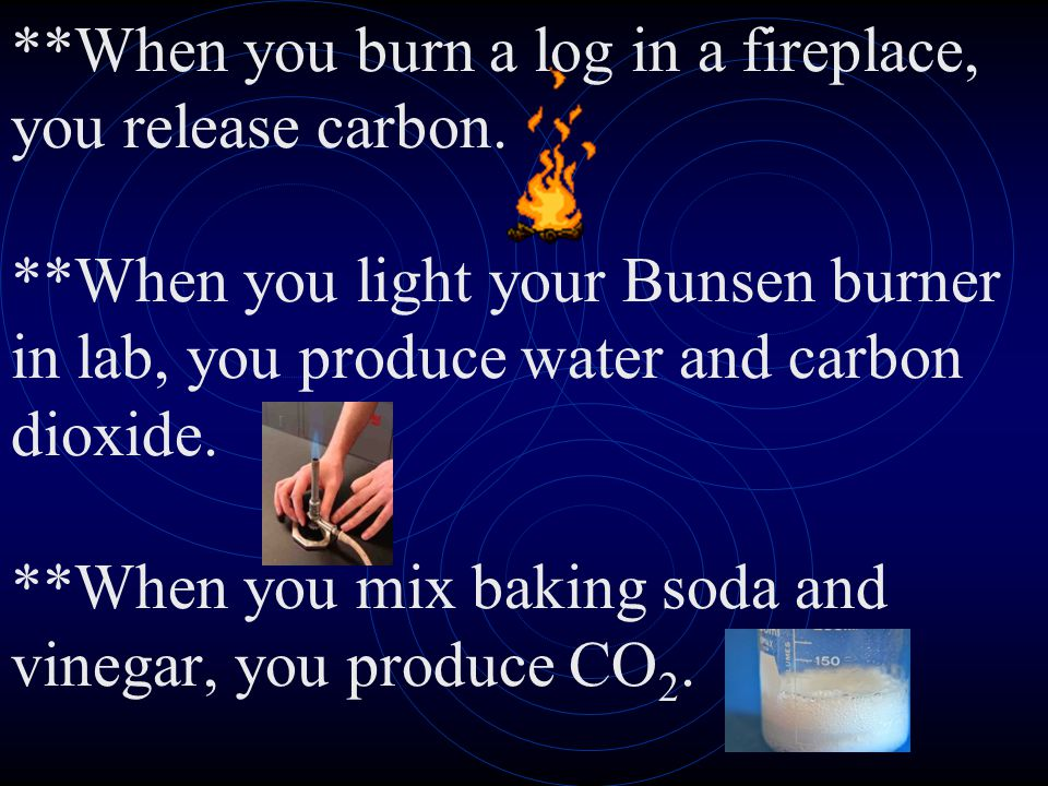 When you burn a log in a fireplace, you release carbon