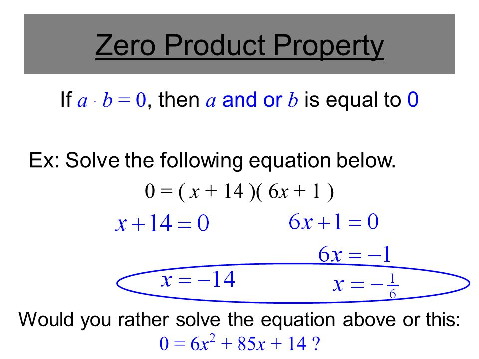 If a . b = 0, then a and or b is equal to 0
