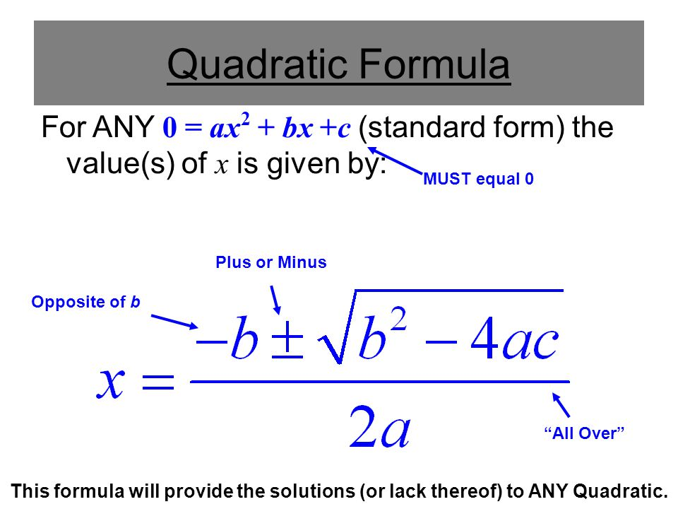 Quadratic Formula For ANY 0 = ax2 + bx +c (standard form) the value(s) of x is given by: MUST equal 0.