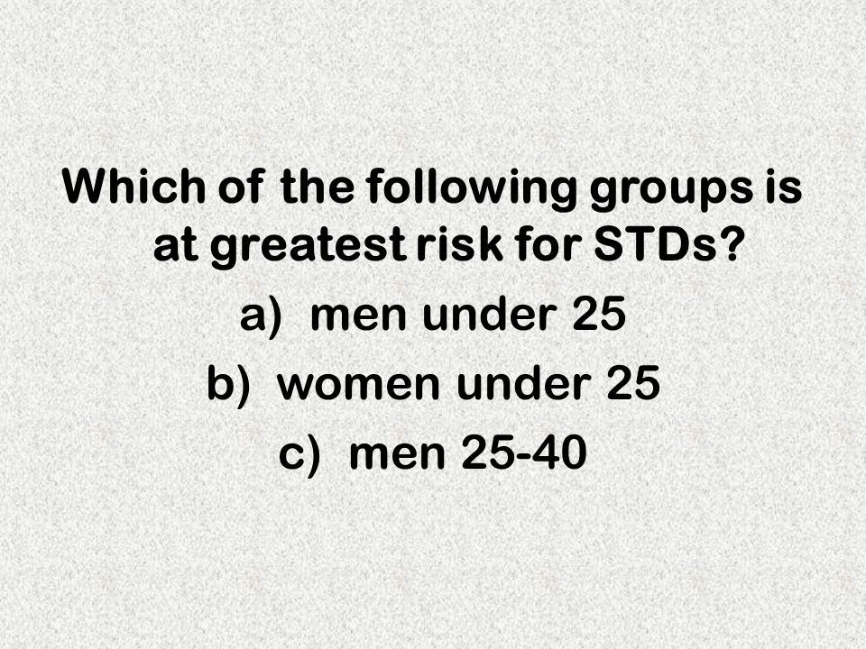 Which of the following groups is at greatest risk for STDs