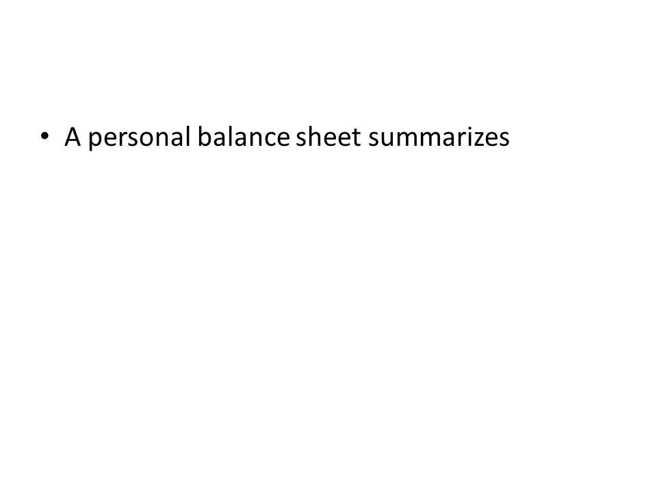 A personal balance sheet summarizes