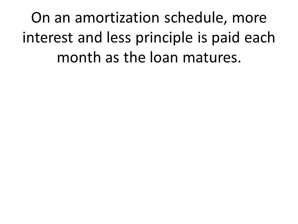 On an amortization schedule, more interest and less principle is paid each month as the loan matures.