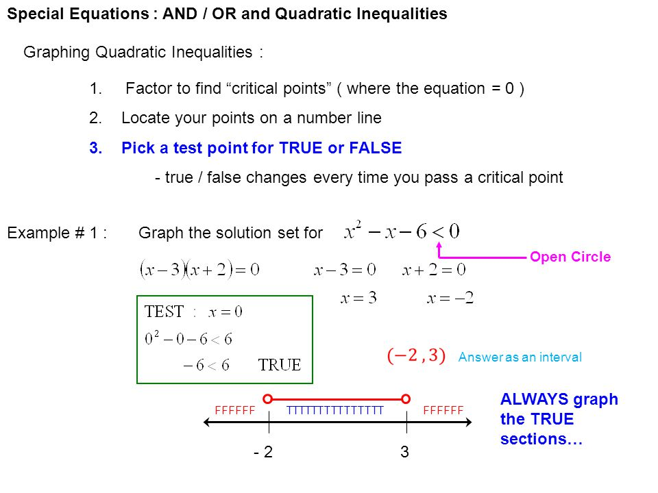 Special Equations : AND / OR and Quadratic Inequalities