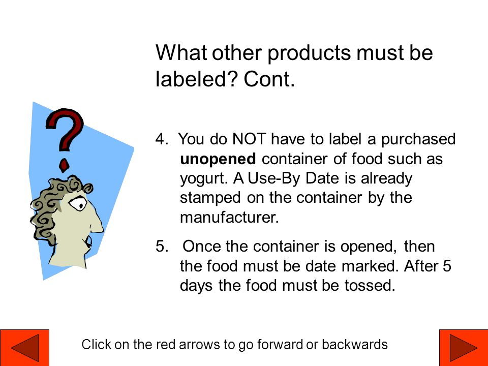 What other products must be labeled Cont.