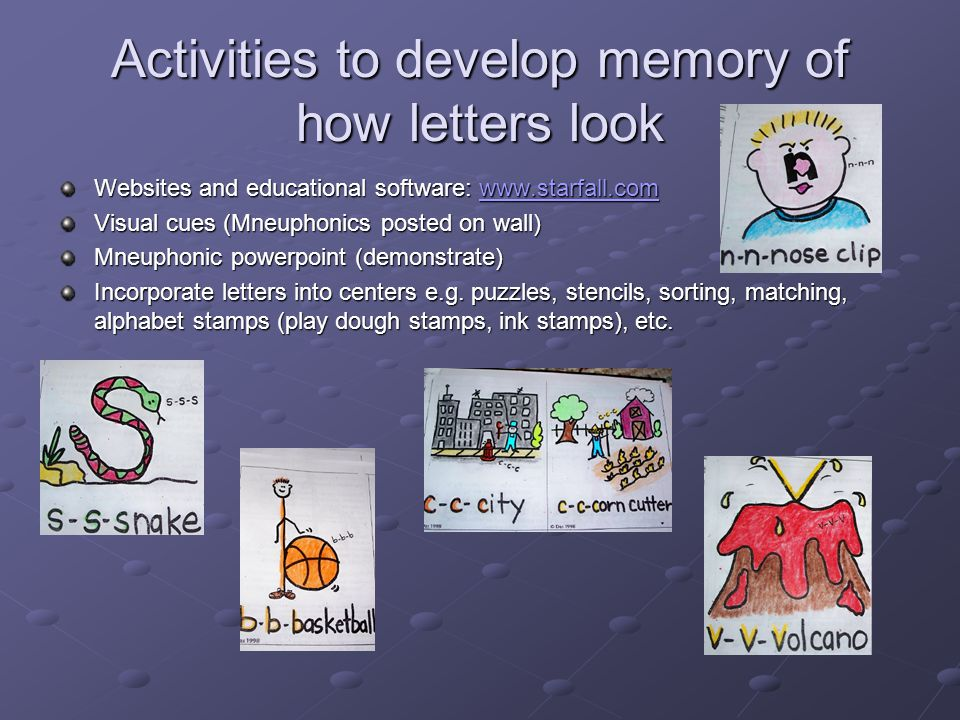 Activities to develop memory of how letters look