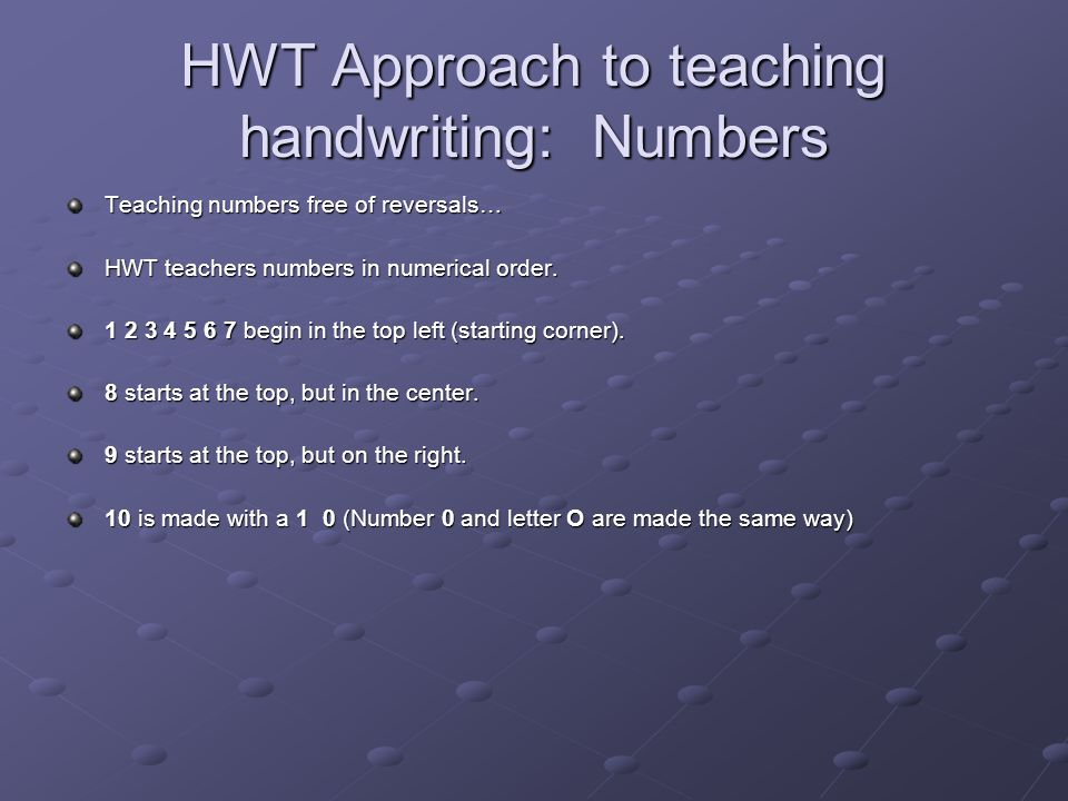 HWT Approach to teaching handwriting: Numbers