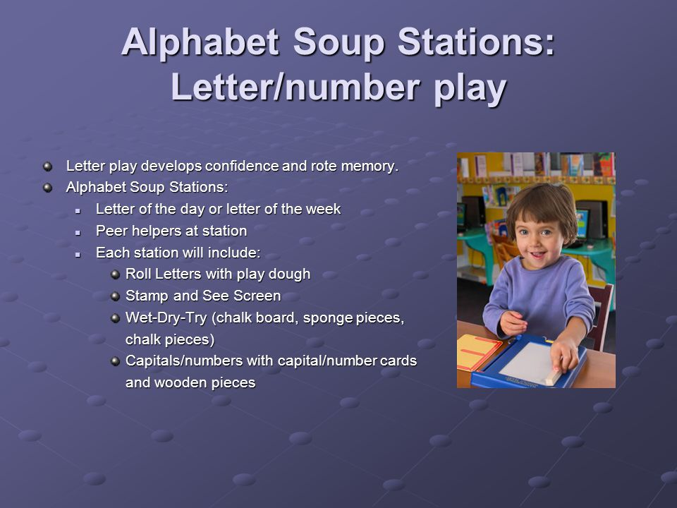 Alphabet Soup Stations: Letter/number play