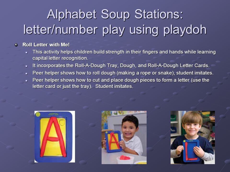 Alphabet Soup Stations: letter/number play using playdoh