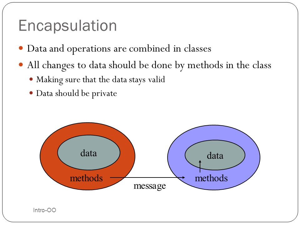 Encapsulation Data and operations are combined in classes
