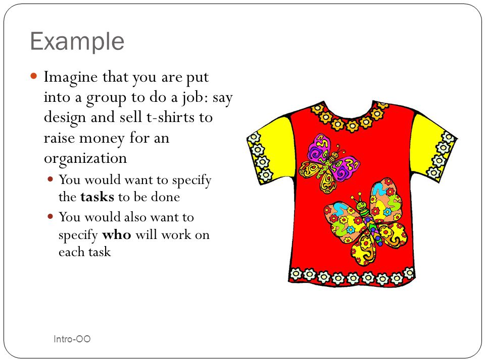 Example Imagine that you are put into a group to do a job: say design and sell t-shirts to raise money for an organization.