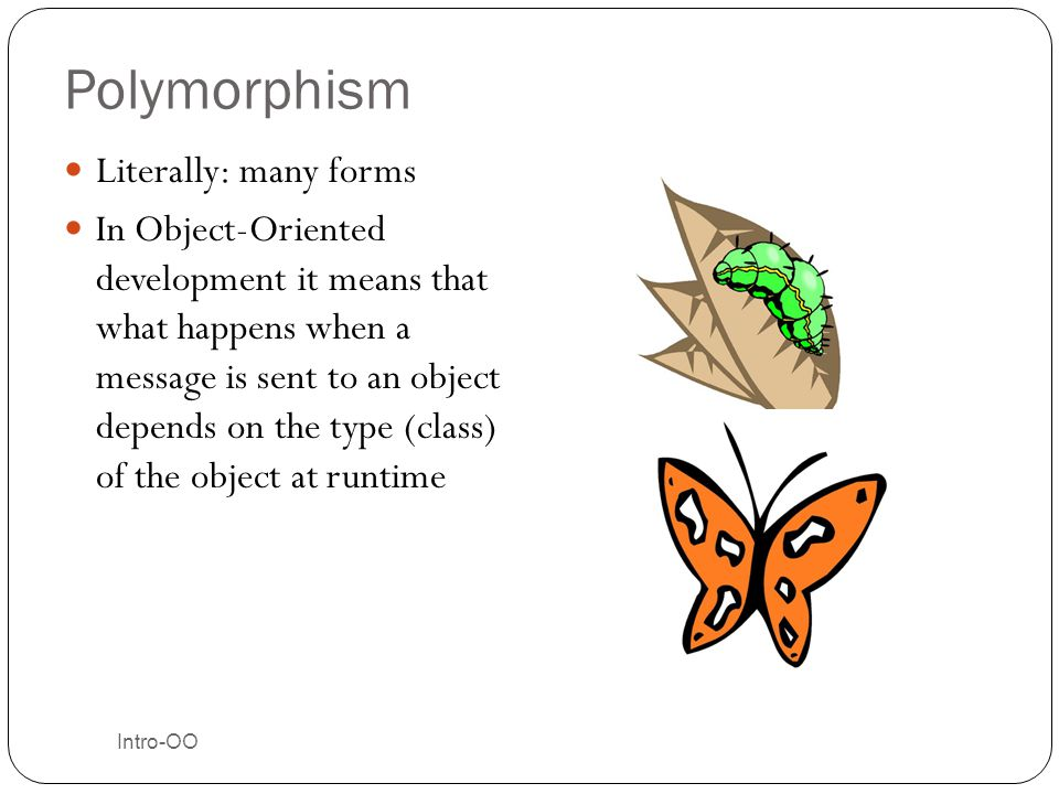 Polymorphism Literally: many forms