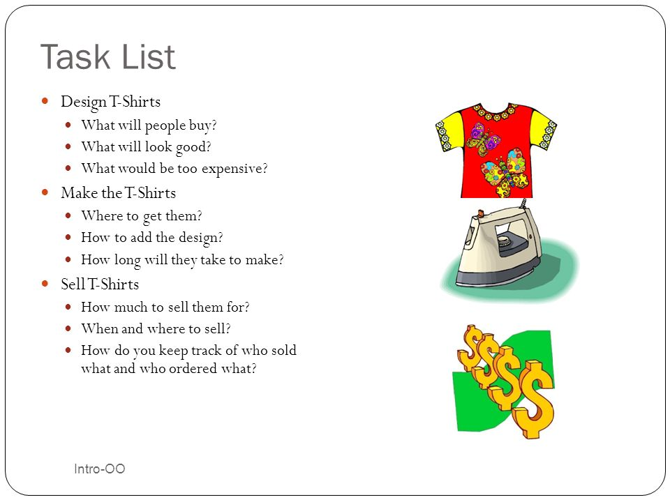Task List Design T-Shirts Make the T-Shirts Sell T-Shirts