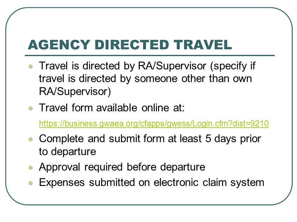 AGENCY DIRECTED TRAVEL