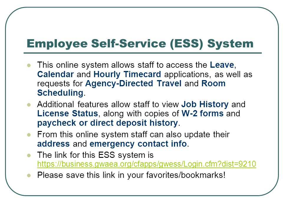 Employee Self-Service (ESS) System