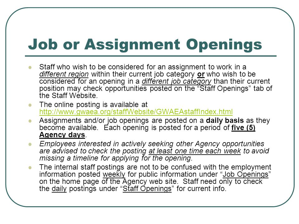 Job or Assignment Openings