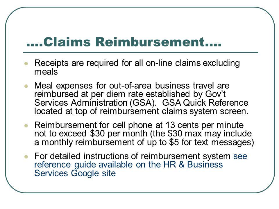 ….Claims Reimbursement….