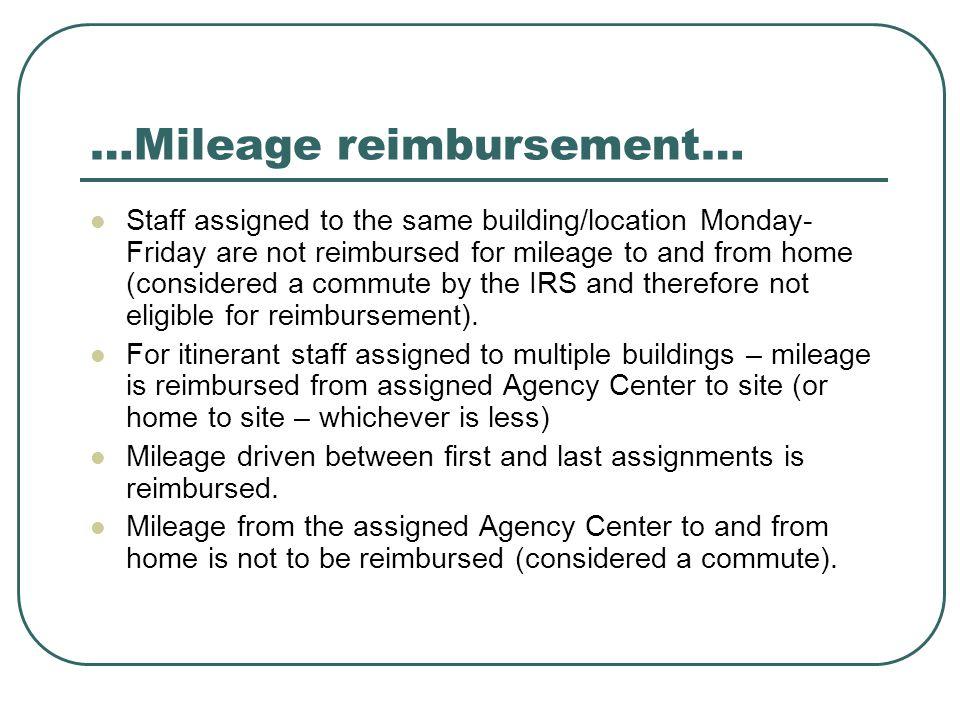 …Mileage reimbursement…