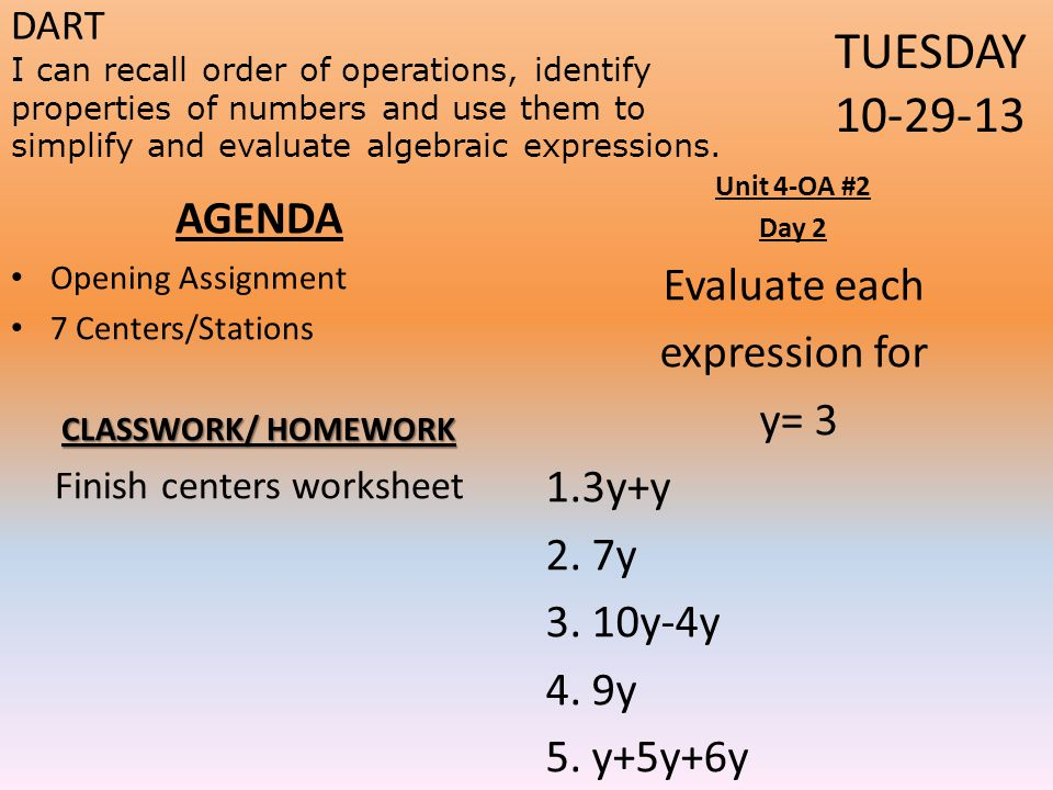 Finish centers worksheet