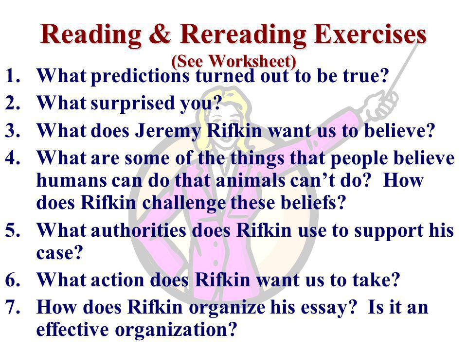 Reading & Rereading Exercises (See Worksheet)