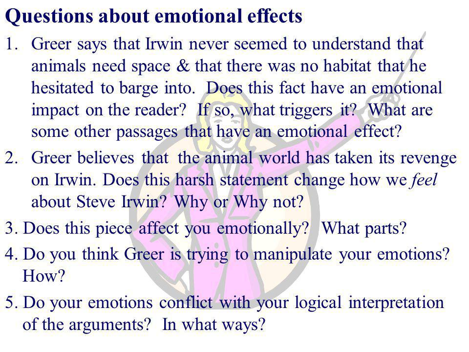 Questions about emotional effects