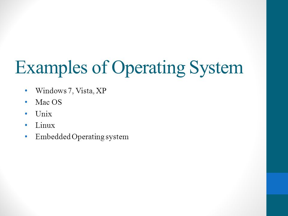Examples of Operating System