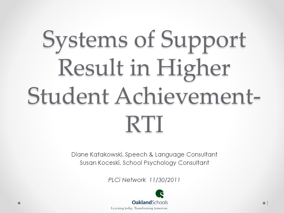 Systems of Support Result in Higher Student Achievement- RTI