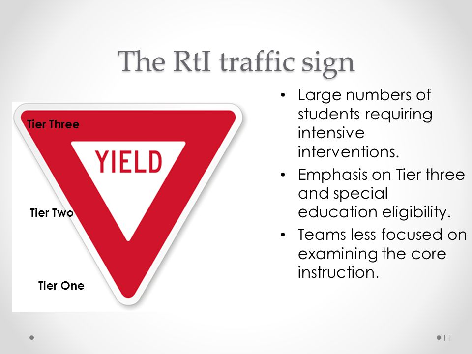 The RtI traffic sign Large numbers of students requiring intensive interventions. Emphasis on Tier three and special education eligibility.