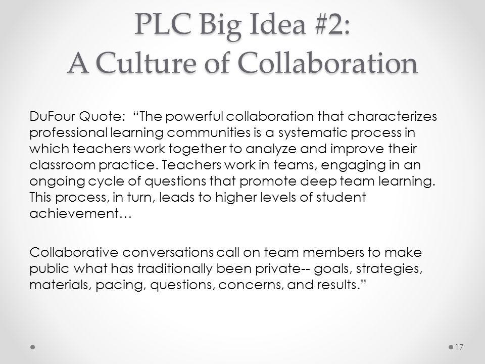PLC Big Idea #2: A Culture of Collaboration
