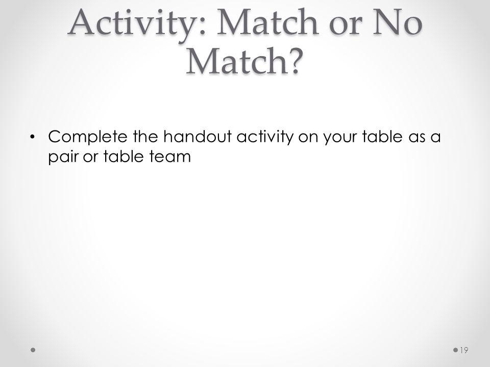 Activity: Match or No Match