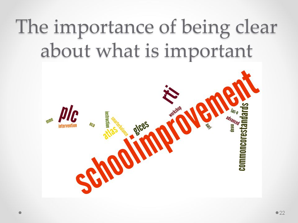 The importance of being clear about what is important
