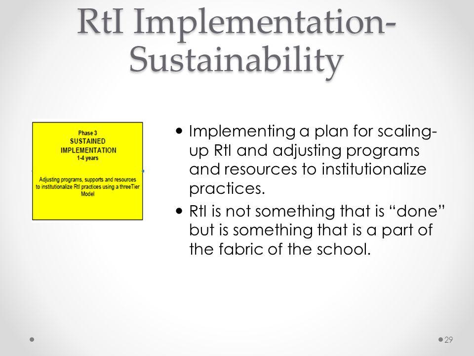 RtI Implementation-Sustainability