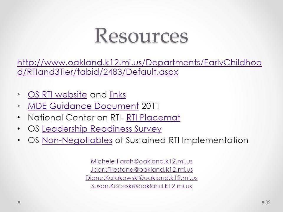 Resources http://www.oakland.k12.mi.us/Departments/EarlyChildhood/RTIand3Tier/tabid/2483/Default.aspx.