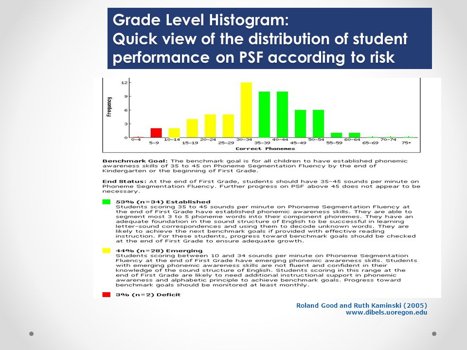 Grade Level Histogram: Quick view of the distribution of student performance on PSF according to risk