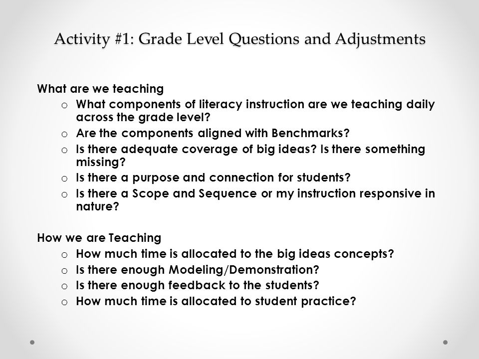 Activity #1: Grade Level Questions and Adjustments