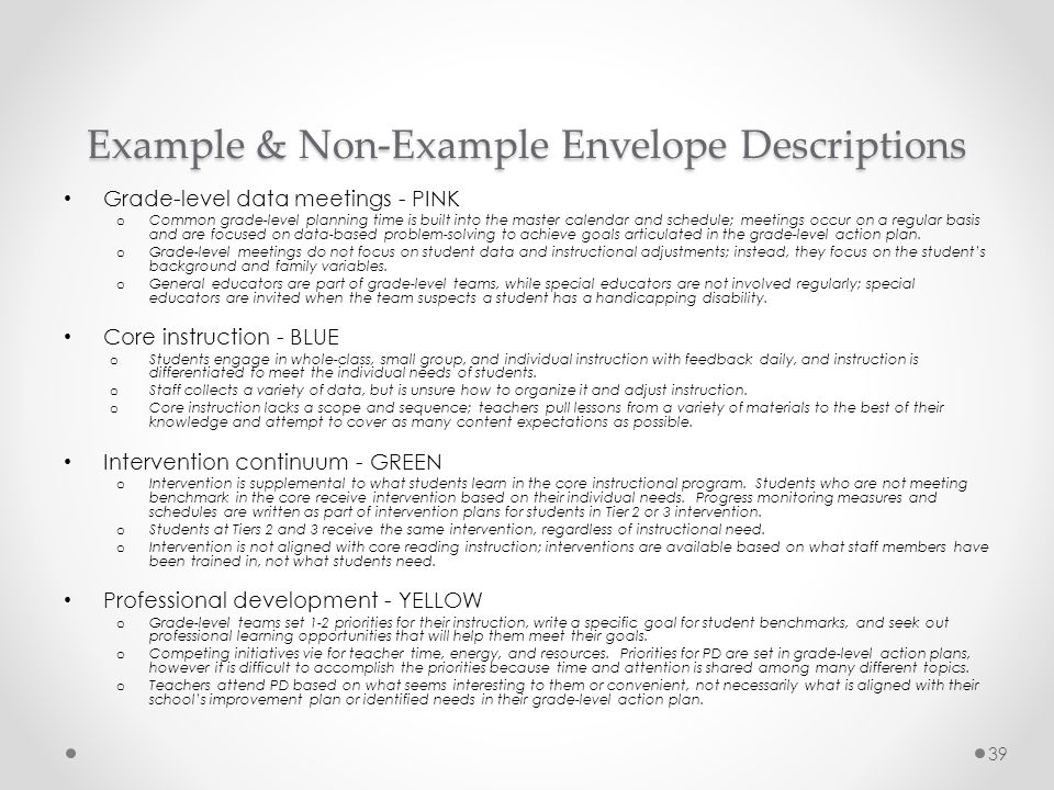 Example & Non-Example Envelope Descriptions