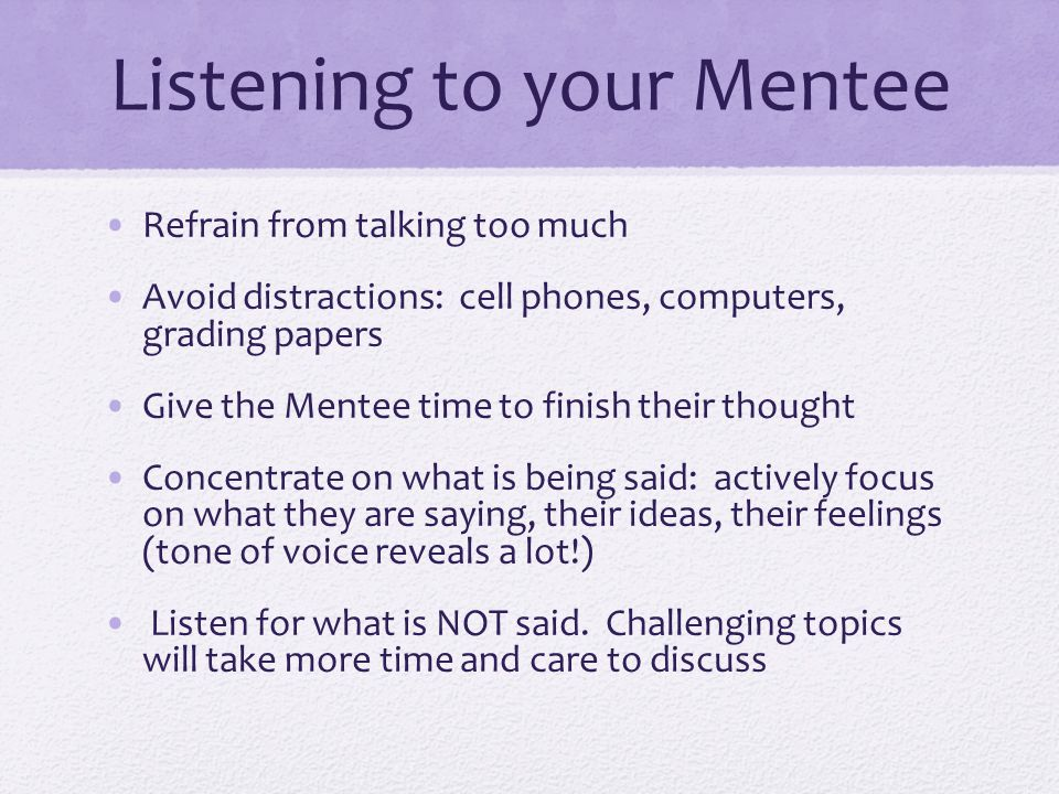 Listening to your Mentee
