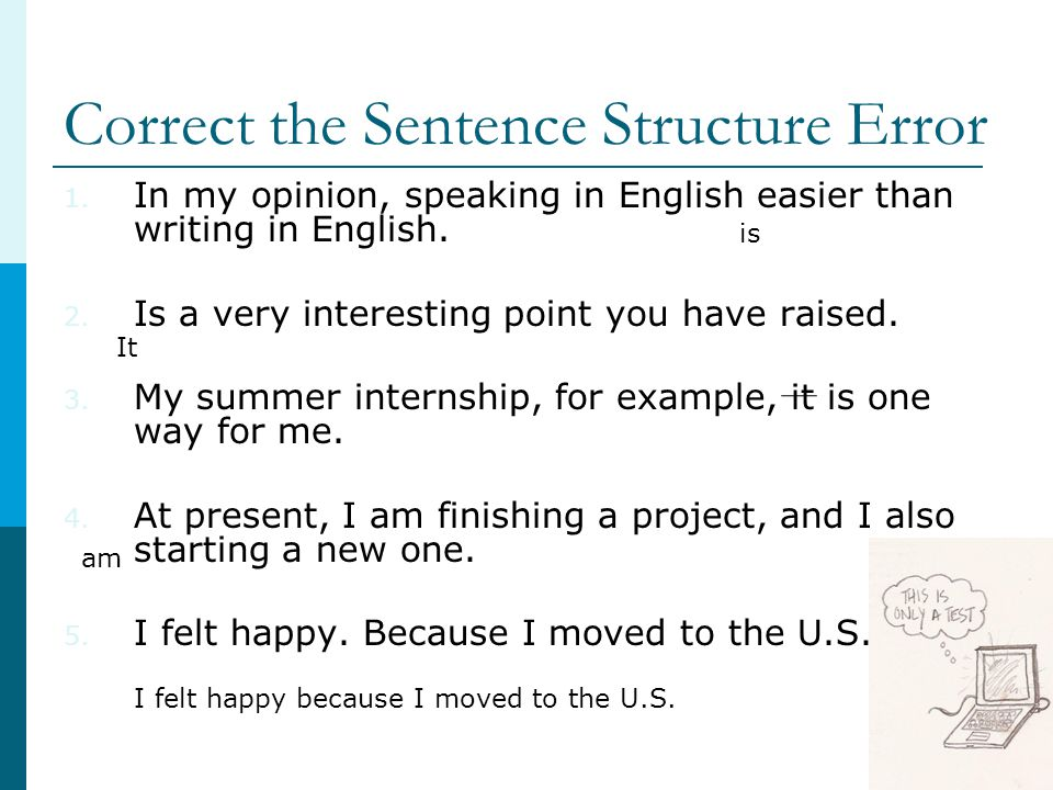 Correct the Sentence Structure Error