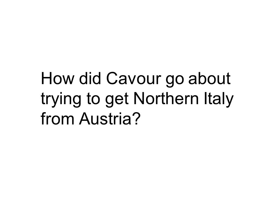 How did Cavour go about trying to get Northern Italy from Austria