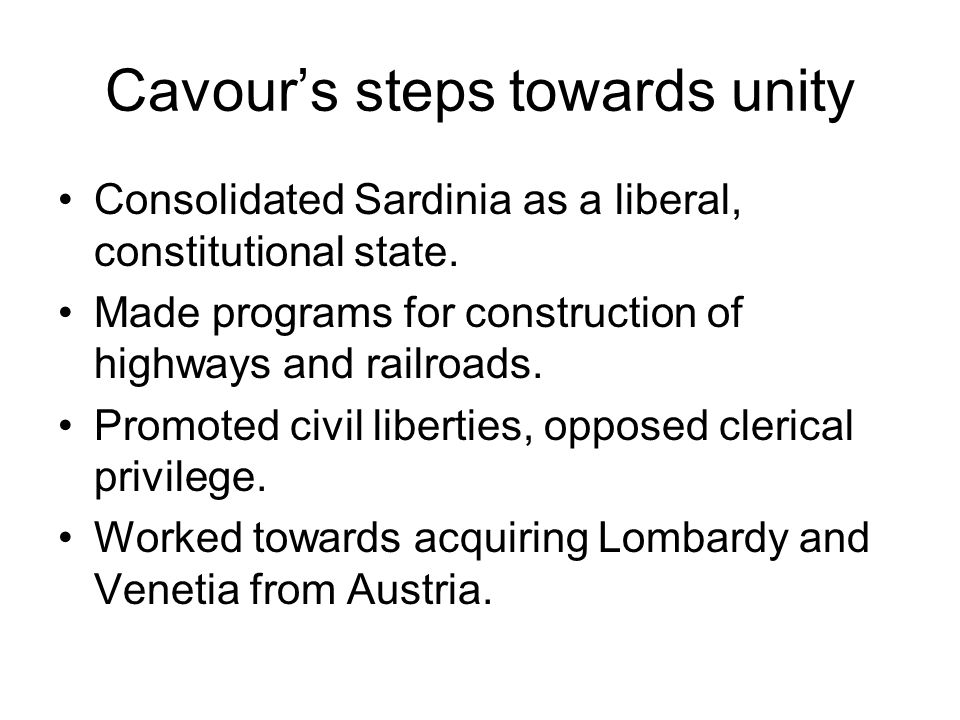 Cavour's steps towards unity